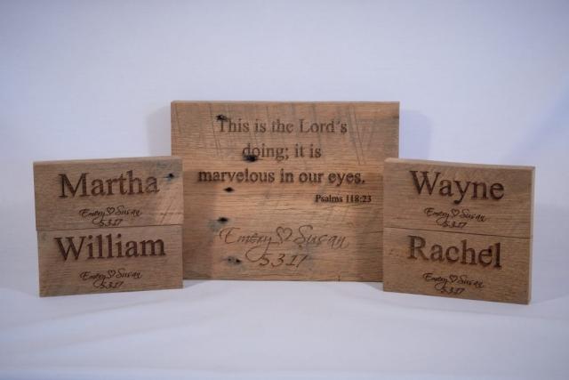 Rustic white oak wedding placeholders laser engraved